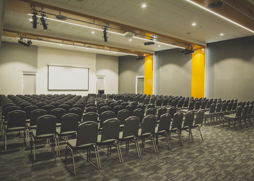 The Exhibition Hall can seat up to 100 guests in a Theatre Style seating arrangement.