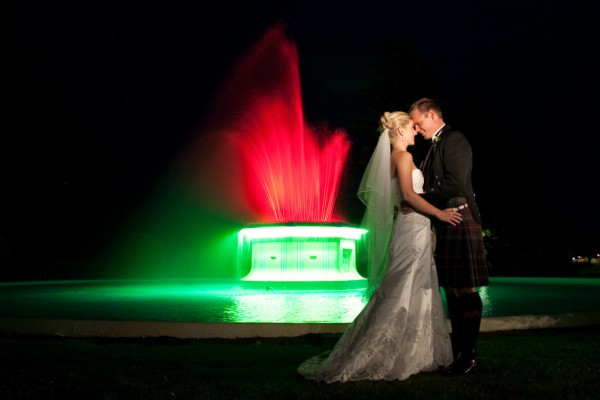 The Tom Parker Fountain makes a stunning backdrop for the Bridal Table for weddings in the Ballroom
