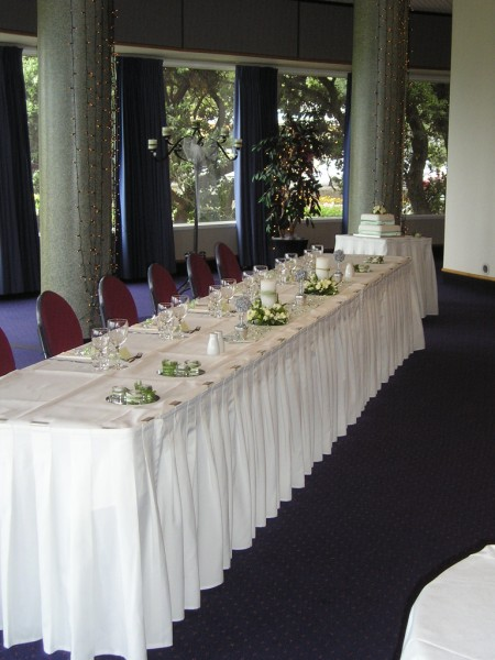 The Bridal Table set with Table Skirting in the Ballroom