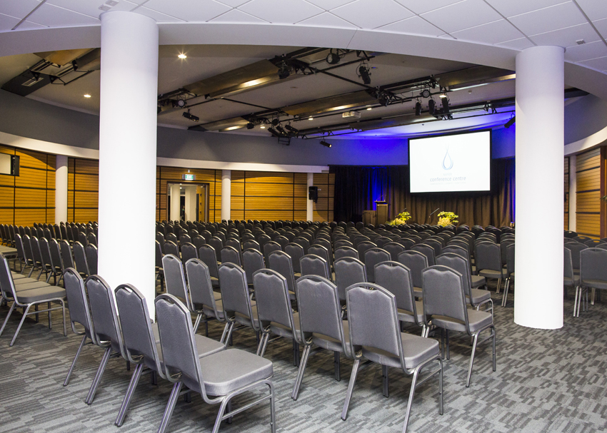 The Napier Conference Centre ballroom setup theatre-style