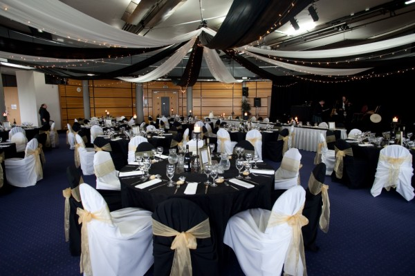 Round Tables with a Canopy lining the ceiling in the Ballroom