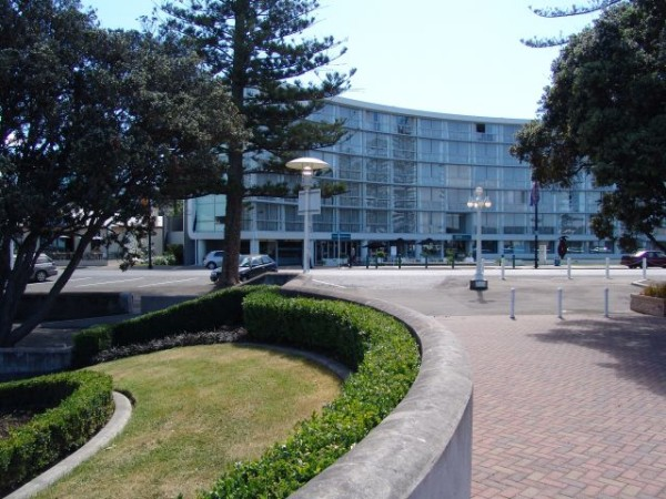 The Scenic Circle Te Pania Hotel as viewed from the Napier War Memorial Conference Centre