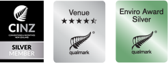 CINZ Silver Member, Qualmark Enviro Award Silver and four and a half star Venue Award